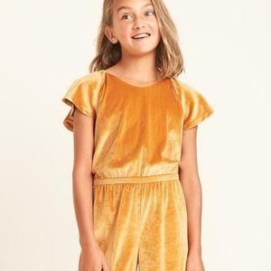 Wide Leg Velvet Jumpsuit for Girls